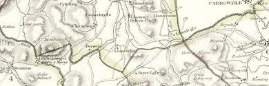 Old map of Blaen Llynor centred on your home