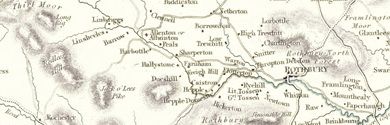 Old map of Blaxter Cotts centred on your home