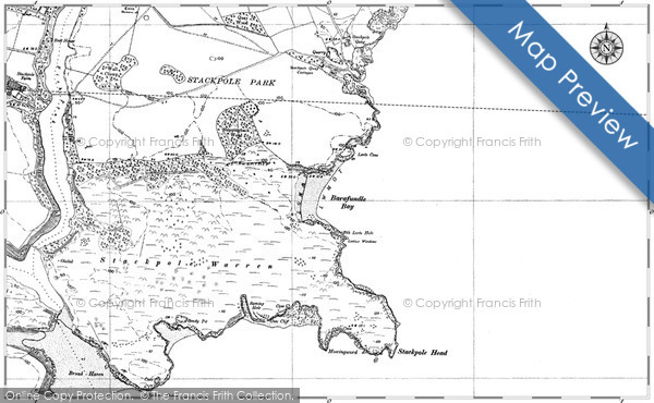 Historic map of Barafundle Bay