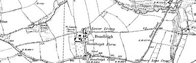 Old map of Bidbeare centred on your home