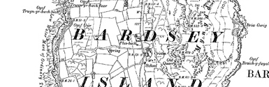 Old map of Bardsey Island centred on your home