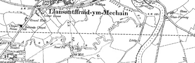 Old map of Bronhyddon centred on your home