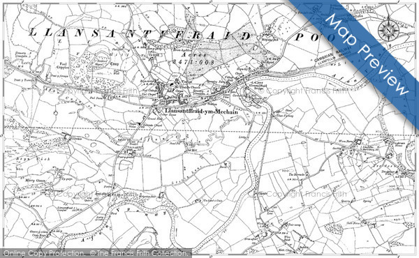 Historic Map covering Bronhyddon