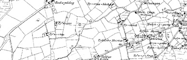 Old map of Bilberry Knoll centred on your home