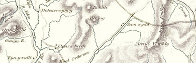 Old map of Afon Cwm-y-foel centred on your home