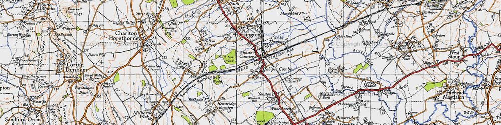 Old map of Abbas Combe in 1945