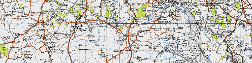 Old map of Abberton in 1945