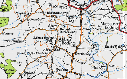 Old map of Abbess Roding in 1946