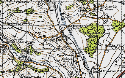 Old map of Abbey Dore in 1947