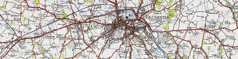 Old map of Abbey Field in 1945