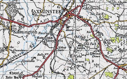 Old map of Abbey Gate in 1945