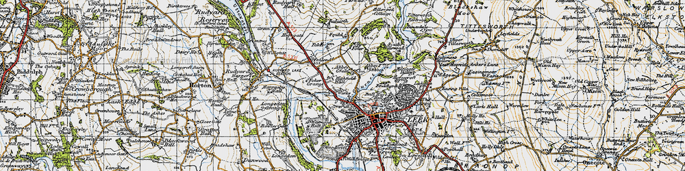Old map of Abbey Green in 1947