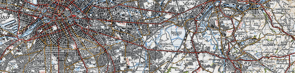 Old map of Abbey Hey in 1947