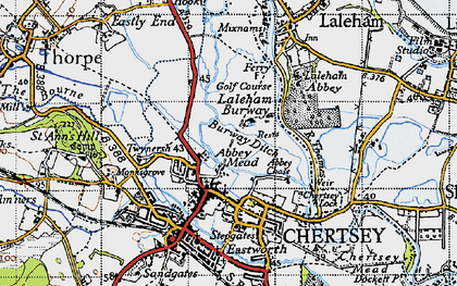 Old map of Abbey Mead in 1940