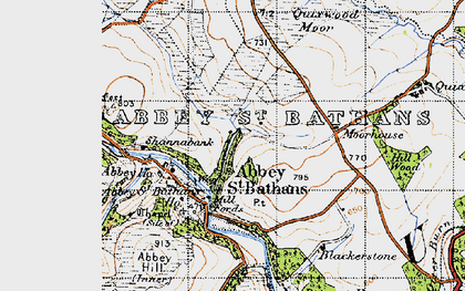Old map of Abbey St Bathans in 1947