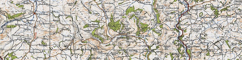 Old map of Abbeycwmhir in 1947