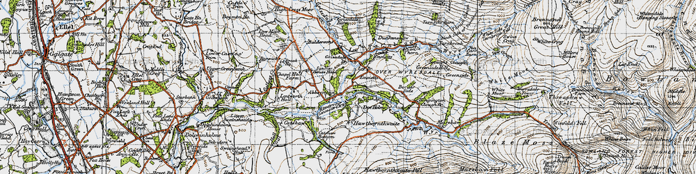 Old map of Abbeystead Resr in 1947