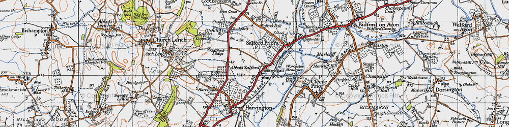 Old map of Abbot's Salford in 1946