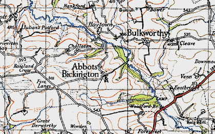 Old map of Abbots Bickington in 1946