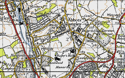 Old map of Abbots Langley in 1946