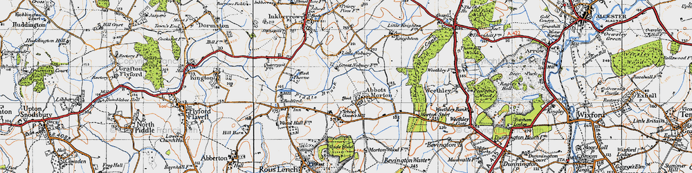 Old map of Abbots Morton in 1947