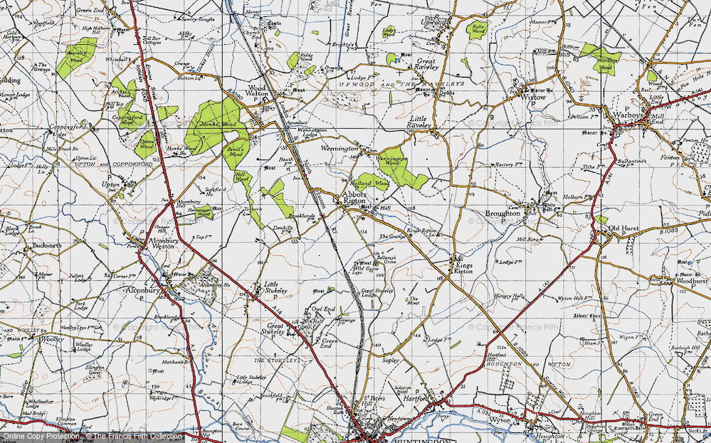 Old Map of Abbots Ripton, 1946 in 1946