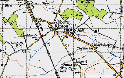 Old map of Abbots Ripton in 1946