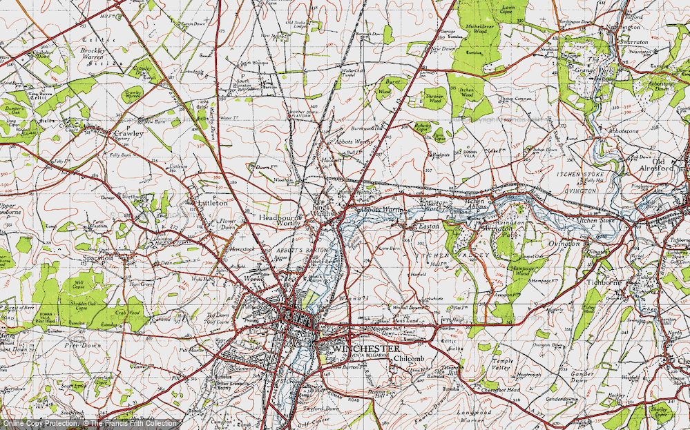 Old Map of Abbots Worthy, 1945 in 1945