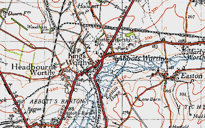 Old map of Abbots Worthy in 1945