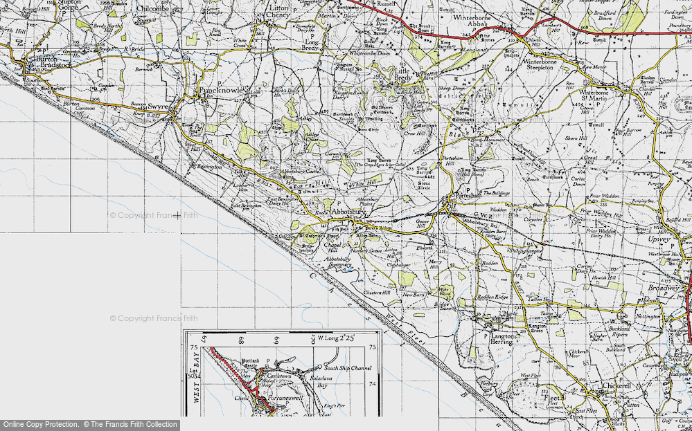 Old Map of Historic Map covering Abbotsbury Plains in 1946