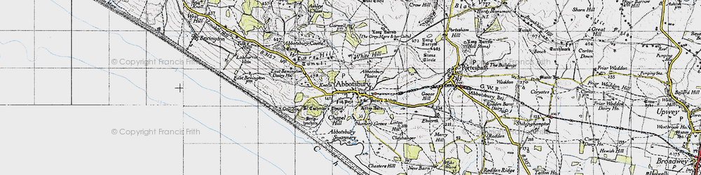 Old map of Abbotsbury Plains in 1946
