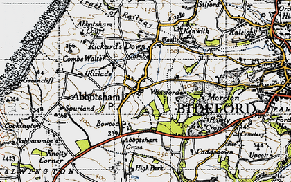 Old map of Abbotsham Cross in 1946