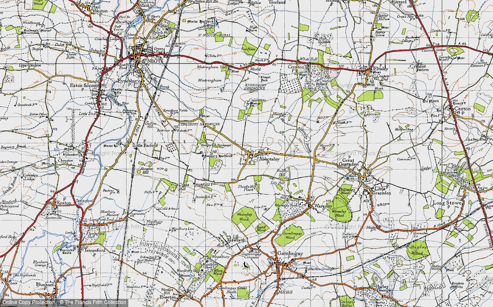 Old Map of Abbotsley, 1946 in 1946