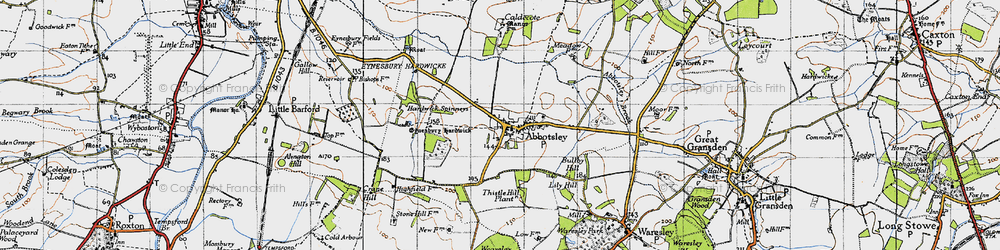 Old map of Abbotsley in 1946