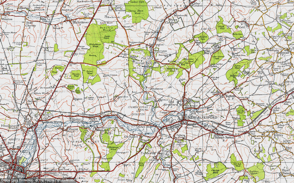 Old Map of Abbotstone, 1945 in 1945