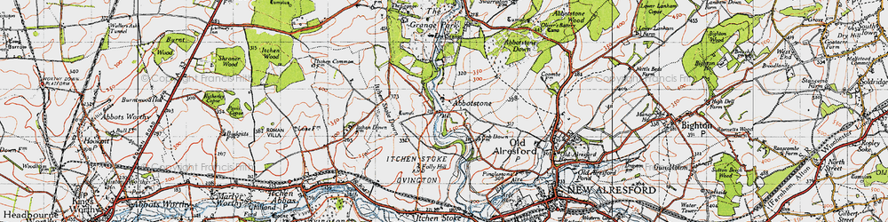 Old map of Abbotstone in 1945