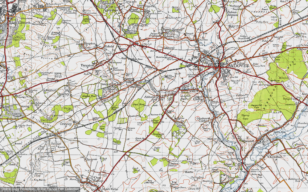 Old Map of Abbotts Ann, 1945 in 1945