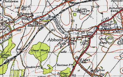 Old map of Abbotts Ann in 1945