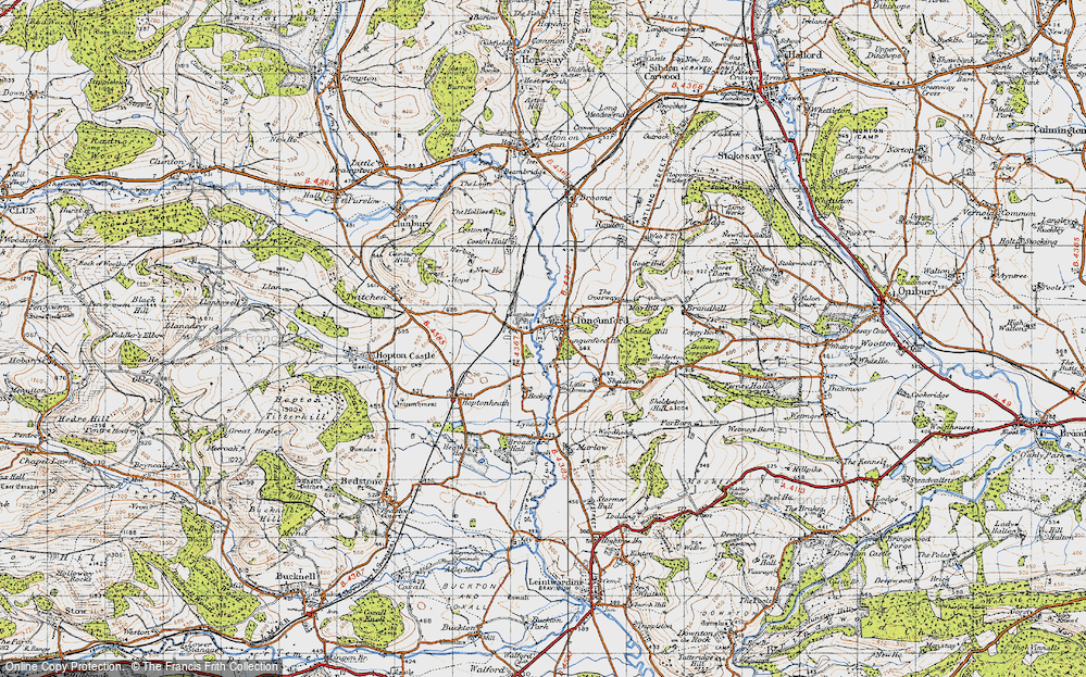 Old Map of Abcott, 1947 in 1947