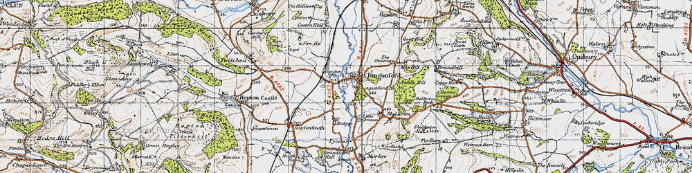 Old map of Abcott in 1947