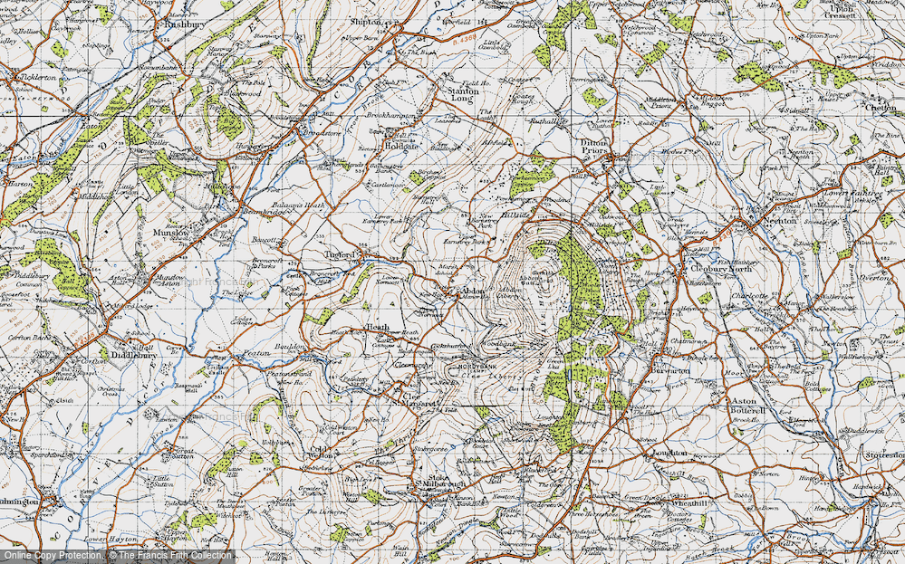 Old Map of Historic Map covering Abdon Liberty in 1947