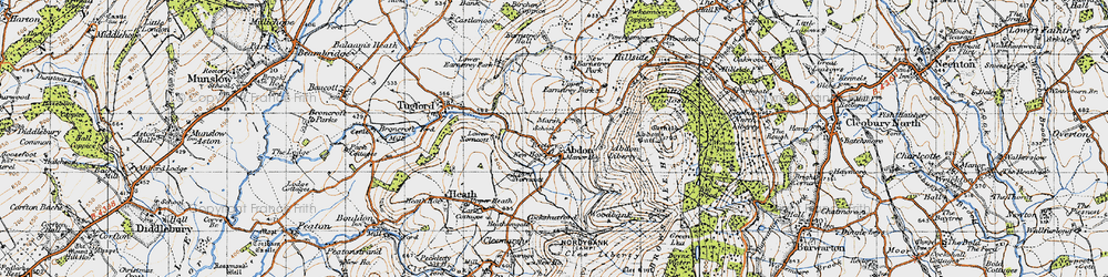 Old map of Abdon in 1947