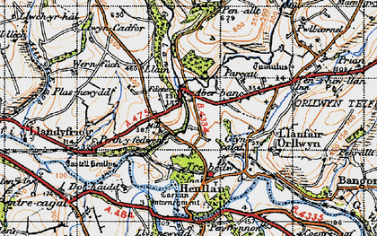 Old map of Aber-banc in 1947