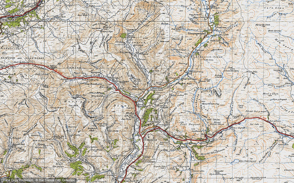 Old Map of Historic Map covering Afon Cywarch in 1947