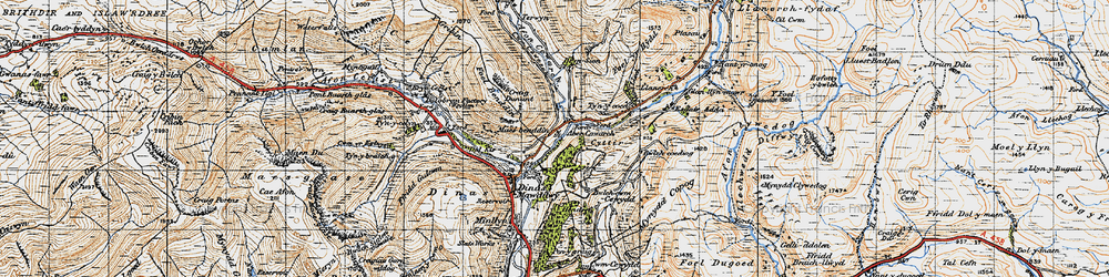 Old map of Afon Cywarch in 1947