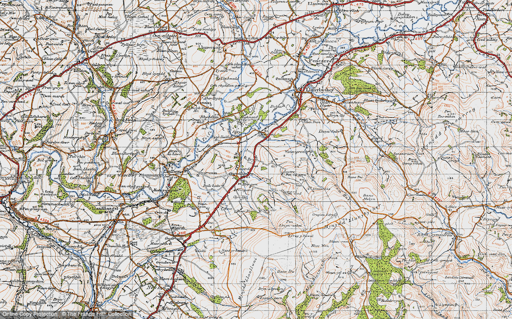Old Map of Historic Map covering Abercwm in 1947