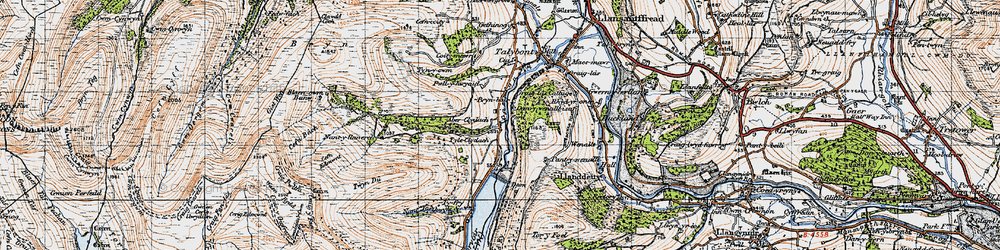 Old map of Aber Village in 1947
