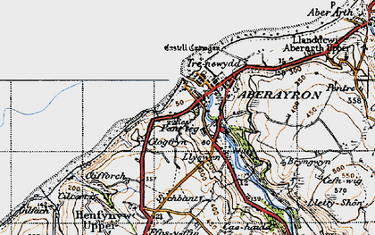 Old map of Aberaeron in 1947