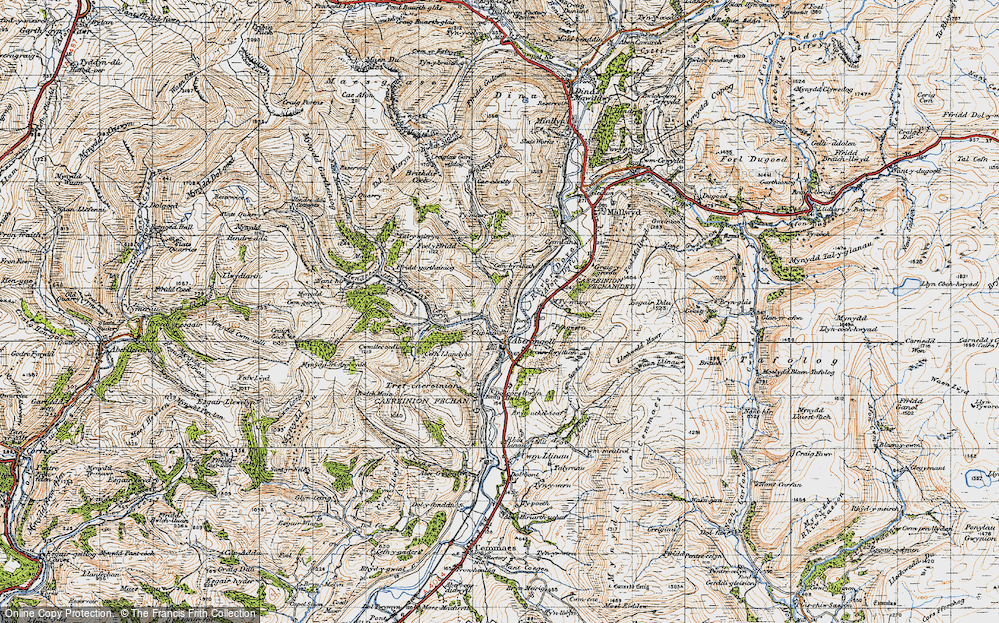 Old Map of Historic Map covering Afon Caws in 1947
