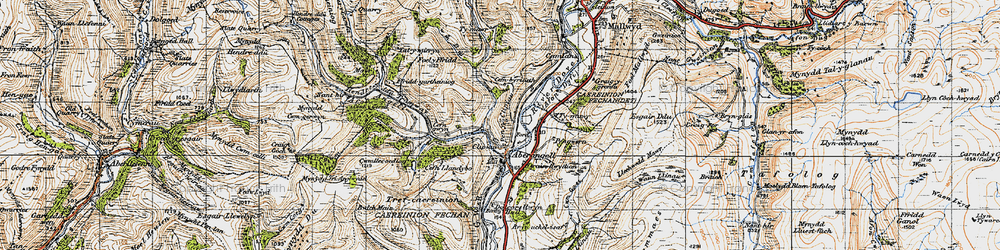 Old map of Afon Angell in 1947